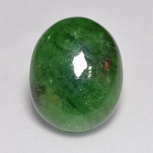 Medium-Dark Green Tsavorite Garnet Gem - 9.1ct Oval Cabochon (ID: 521322)