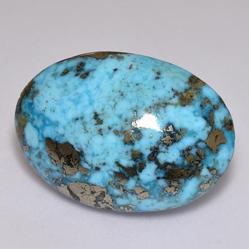 Blue Turquoise Gem - 25.5ct Oval Cabochon (ID: 516547)
