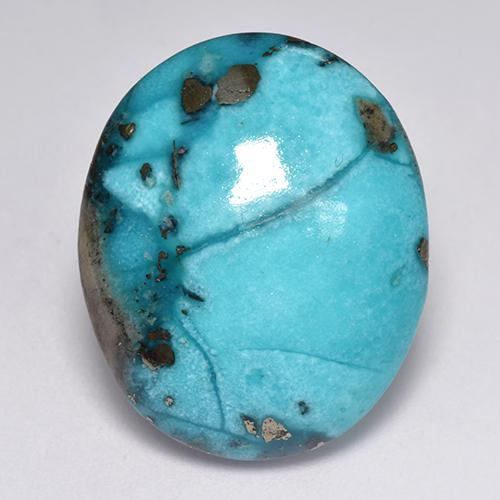 Blue Turquoise Gem - 24.5ct Oval Cabochon (ID: 516984)