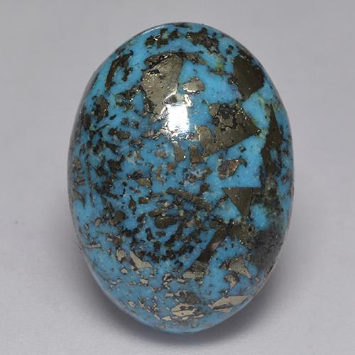 Yale Blue Turquoise Gem - 16.5ct Oval Cabochon (ID: 526115)