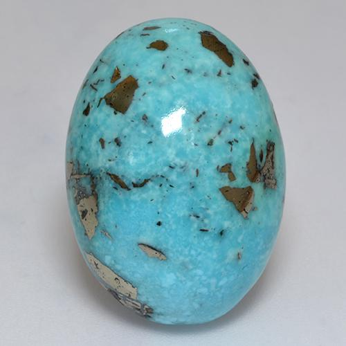 Blue Turquoise Gem - 27.5ct Oval Cabochon (ID: 526370)