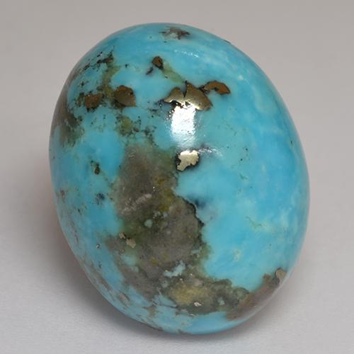 Blue Turquoise Gem - 26.3ct Oval Cabochon (ID: 526592)