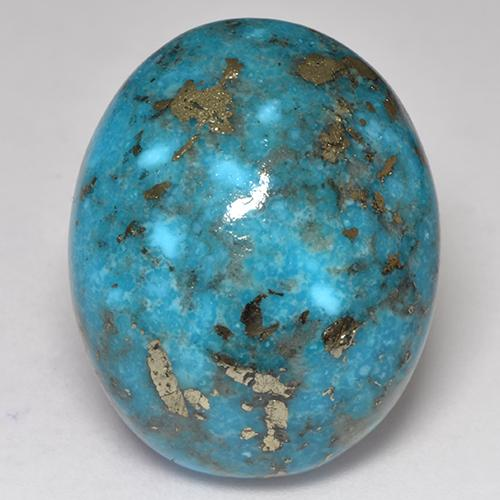 Dark Greenish Blue Turquoise Gem - 44.1ct Oval Cabochon (ID: 529175)