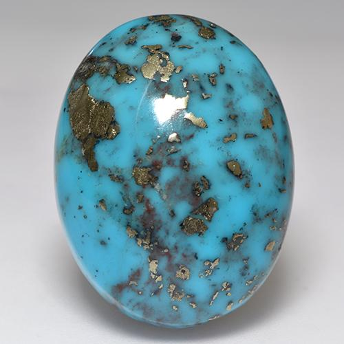 Blue Turquoise Gem - 63.1ct Oval Cabochon (ID: 529182)