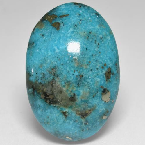 Greenish Blue Turquoise Gem - 35.7ct Oval Cabochon (ID: 536664)