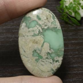 36.9ct Oval Cabochon Green Variscite Gem (ID: 471117)