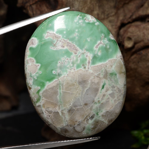 Multicolor Green Variscite Gem - 49.3ct Oval Cabochon (ID: 471256)