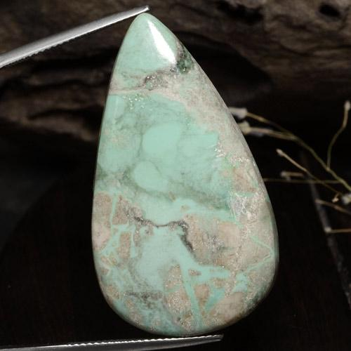 Green Variscite Gem - 40.1ct Pear Cabochon (ID: 472566)