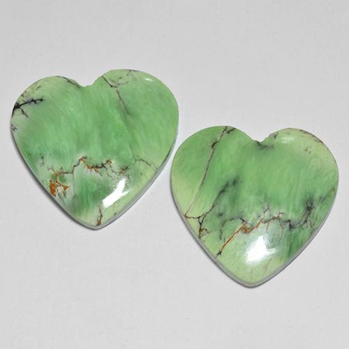 Green Variscite Gem - 10.3ct Heart Cabochon (ID: 512376)