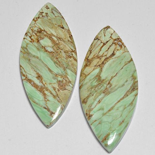 Green Variscite Gem - 6.1ct Marquise Cabochon (ID: 512378)