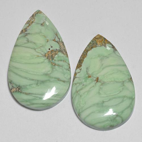 Multicolor Green Variscite Gem - 8ct Pear Cabochon (ID: 512380)