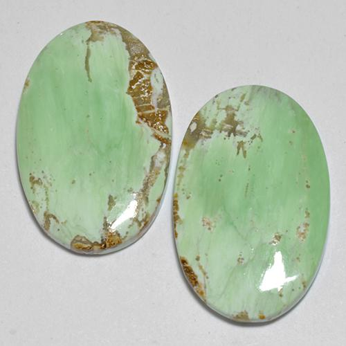 Multicolor Green Variscite Gem - 5.8ct Oval Cabochon (ID: 512385)