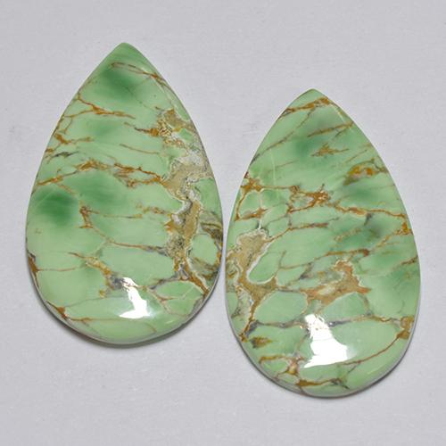 Green Variscite Gem - 7ct Pear Cabochon (ID: 512388)