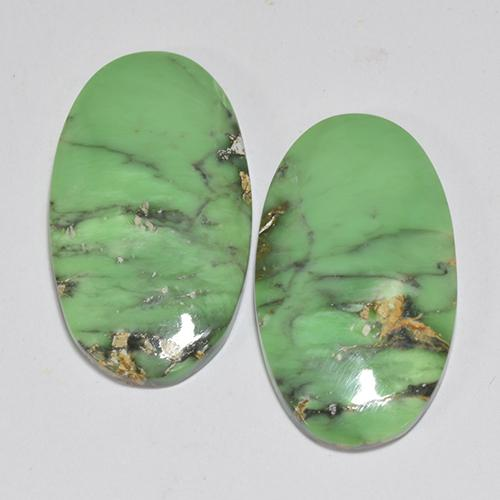 Multicolor Green Variscite Gem - 6.8ct Oval Cabochon (ID: 512397)