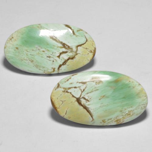 Yellowish Green Variscite Gem - 7.4ct Oval Cabochon (ID: 554024)