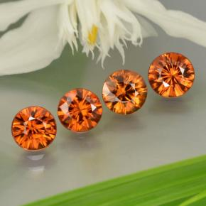 0.9ct Diamond-Cut Dark Orange Zircon Gem (ID: 252533)