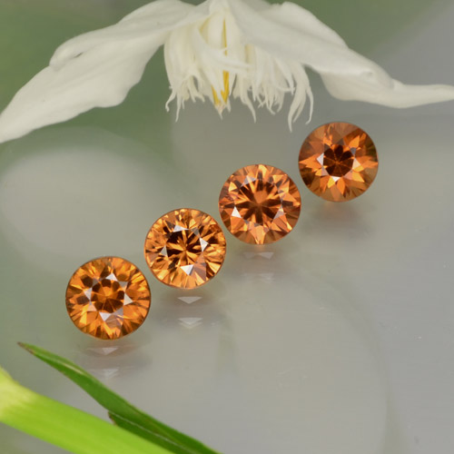 0.9ct Diamond-Cut Medium-Dark Orange  Zircon Gem (ID: 252534)