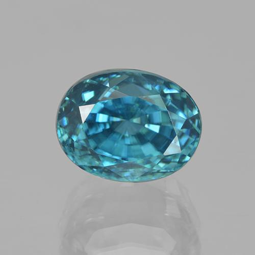 6.04 ct Oval Facet Blue Zircon Gemstone 9.33 mm x 7.8 mm (Product ID: 317046)