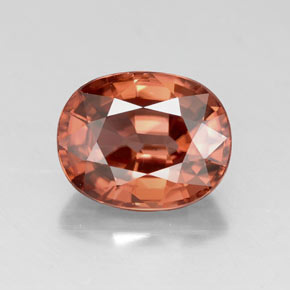 Rose Orange Zircon Gem - 3.4ct Oval Facet (ID: 318522)