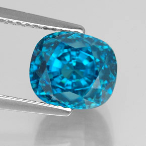 5.89 ct Cushion-Cut Swiss Blue Zircon Gemstone 8.46 mm x 8 mm (Product ID: 327746)