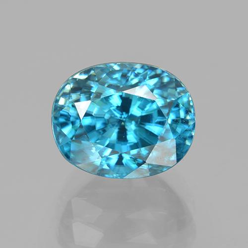 Electric Azure Blue Zircone Gem - 5.6ct Ovale sfaccettato (ID: 327750)