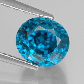 5.46 ct Oval Facet Electric Blue Zircon Gemstone 8.41 mm x 7.8 mm (Product ID: 327751)