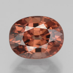 3.55 ct Oval Facet Rose Orange Zircon Gemstone 9.10 mm x 7.2 mm (Product ID: 332419)