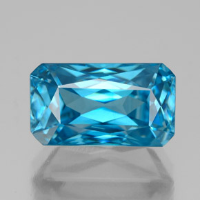 8.77 ct Octagon / Scissor Cut Blue Zircon Gemstone 12.76 mm x 7.3 mm (Product ID: 337549)