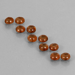 Dark Orange Zircon Gem - 0.6ct Round Cabochon (ID: 337630)