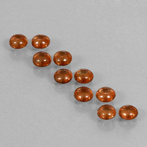 Deep Orange Zircon Gem - 0.6ct Round Cabochon (ID: 337632)