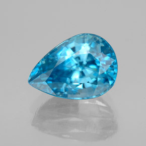 5.40 ct Pear Facet Blue Zircon Gemstone 11.09 mm x 7.9 mm (Product ID: 353877)