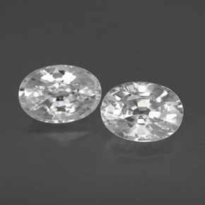 White Zircon Gem - 1.5ct Oval Facet (ID: 356470)