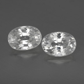 1.5ct Oval Facet White Zircon Gem (ID: 356473)