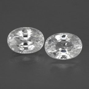 1.5ct Oval Facet White Zircon Gem (ID: 356495)