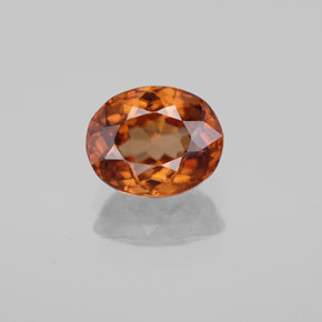 Medium-Dark Orange Zircone Gem - 2.2ct Ovale sfaccettato (ID: 358242)