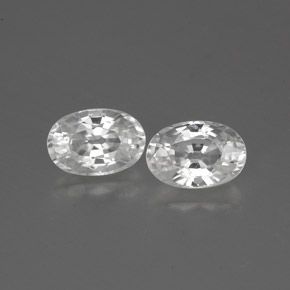 White Zircon Gem - 0.8ct Oval Facet (ID: 360983)