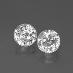White Zircon Gem - 2.1ct Round Facet (ID: 377885)