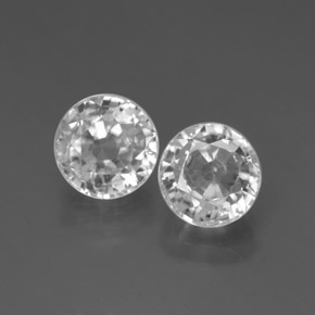 White Zircon Gem - 2.2ct Round Facet (ID: 377891)