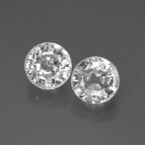White Zircon Gem - 2.2ct Round Facet (ID: 377894)
