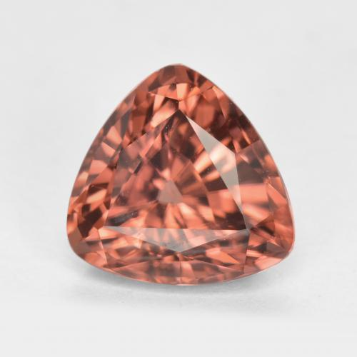 Orange Rose Zircon Gem - 3.2ct Trillion Facet (ID: 379618)