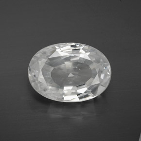 White Zircon Gem - 10.7ct Oval Facet (ID: 381425)