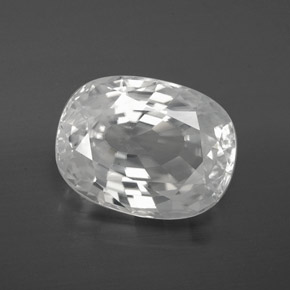 White Zircon Gem - 10ct Oval Facet (ID: 381428)