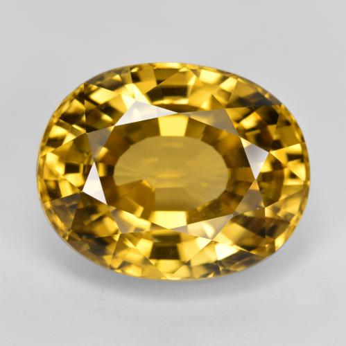 Golden Yellow Zircon Gem - 22.8ct Oval Facet (ID: 400696)
