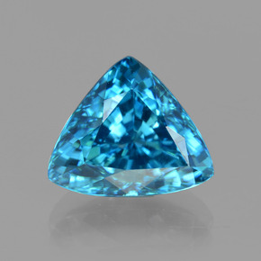 Blue Zircon Gem - 5.1ct Trillion Facet (ID: 404448)