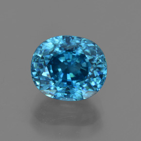 5.64 ct Oval Facet Blue Zircon Gemstone 9.47 mm x 8.1 mm (Product ID: 417984)