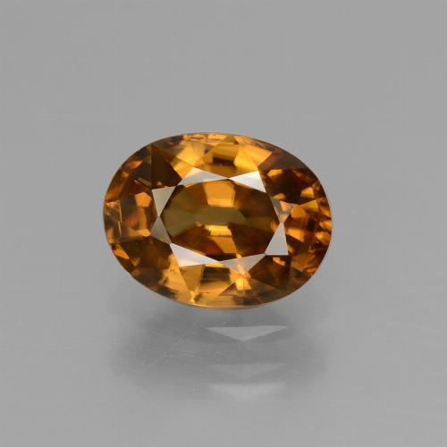 2.04 ct Oval Facet Golden Orange Zircon Gemstone 8.18 mm x 6.2 mm (Product ID: 430097)