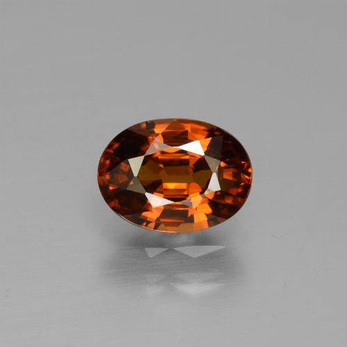 Deep Orange Zircon Gem - 1.9ct Oval Facet (ID: 430211)