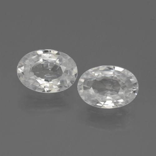 White Zircon Gem - 1.1ct Oval Facet (ID: 439141)