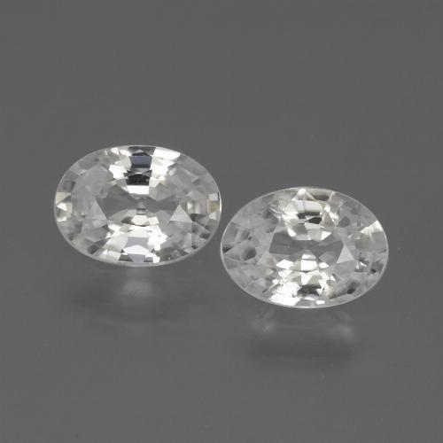 White Zircon Gem - 1ct Oval Facet (ID: 439142)