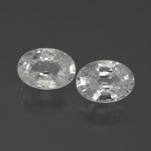 White Zircon Gem - 1.2ct Oval Facet (ID: 439329)